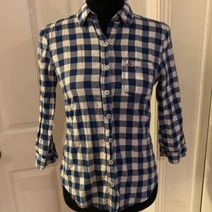 💙 Women's Hollister Button Down 3/4 Sleeve Size S
